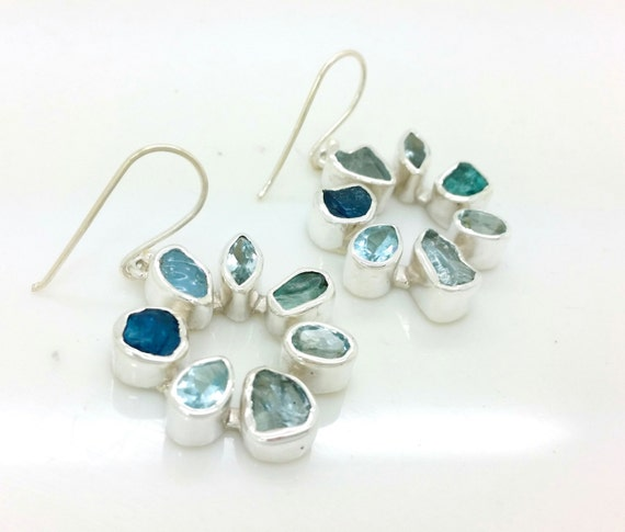 Rough Aquamarine, Apatite and Blue Topaz Silver Gemstone Earrings