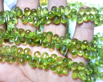 Peridot Gemstone Faceted Briolette Tear Drops Size 7.5MM Approx8 Inches -40Pc Awesone Beautiful AAA High Quality  Green   Wholesale price