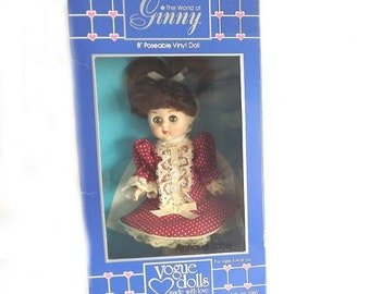 Vintage Ginny Vogue Doll in Original Box, Collectible Doll, Girls Toy, Dress Up Doll, Girls Room Decor,  Signed Vintage Toy, Decorative Doll