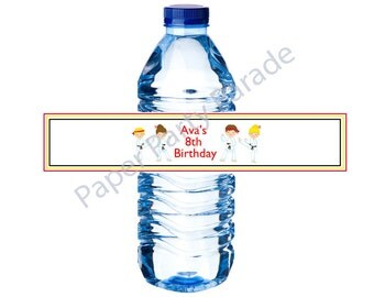 DIY Karate Party Water Bottle Wraps-digital file, printable, you print at home,karate kids, karate birthday party