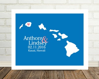 HAWAII Wedding Gift Personalized Hawaii Map Hawaii Print Hawaii Poster State Map Art Wedding Map Destination Wedding Gift Any State You Like