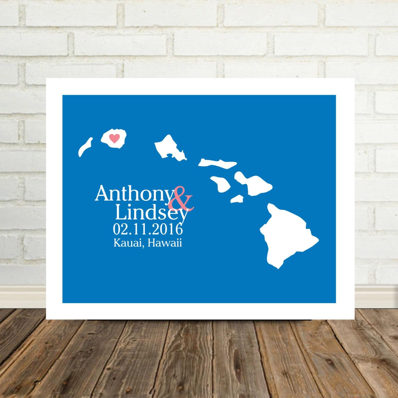 Wedding Gifts From Hawaii: HAWAII Wedding Gift Personalized Hawaii Map Hawaii Print