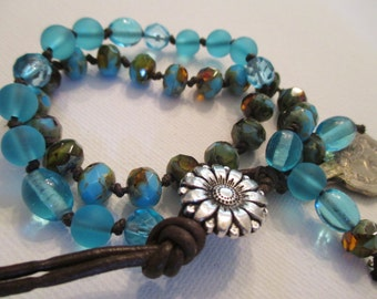 Aqua Glass Double-Wrap Knotted Bracelet
