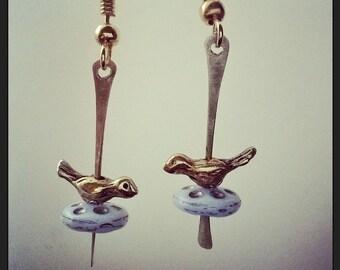 Tiny Bird Bar Earrings