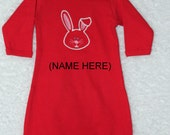 Baby Girls First Easter Outfit/PERSONALIZED/Newborn Baby Gown/0-6 Months/Red Baby Gown/Embroidered Easter Bunny and Name/Princess Headband