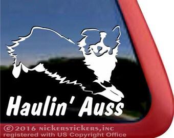 Haulin' Auss | DC685SP1 | High Quality Adhesive Vinyl Australian Shepherd Window Decal Sticker