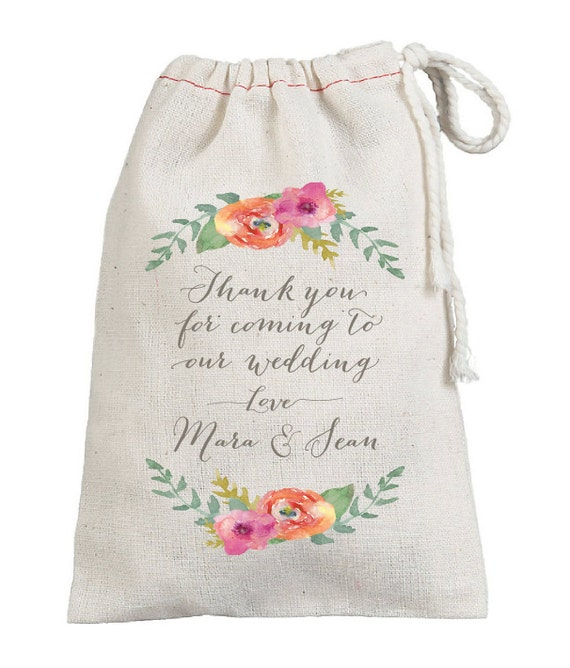 Wedding Gift Bags Printed : ... Custom Wedding Favor Bags - Cotton Printed Guest Bags - Wedding Favor