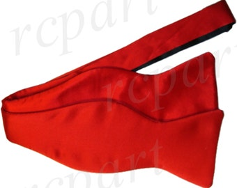 Men's Silk Solid Red Self-Tie Bowtie, for Formal Occasions