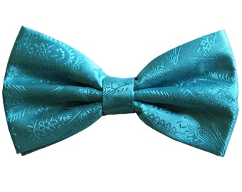 Men's Paisley Turquoise Pre-Tied Bowtie, for Formal Occasions