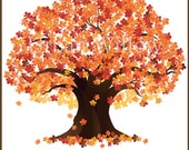 Tree Clip Art - Fall Trees, Autumn Tree Clipart, Maple Tree Graphic, Oak Trees, Natural Trees, Flame Tree, Deciduous Tree, Fall Clipart