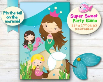 Mermaid Party Game, Pin the Tail on the Mermaid Party Game, Mermaid Printables, Undersea Party Decor, Girl's Party, Birthday Party Ideas