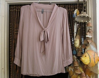 Bow-Knotted Neckline Viscose Blouse, Featuring Tiny Built-In Floral Design / Long Sleeves + Golden Buttons Cuffs, Vintage - Small to Medium
