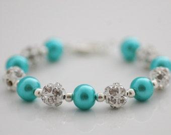 SPRING SALE • Teal Pearl Bracelet • Teal Glass Pearl and Rhinestone Beaded Bracelet • Gift for Her • UK Seller
