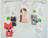 READY TO SHIP-Baby Crib Mobile-Princess and Woodland Animals Crib Mobile-Custom Made Mobiles-Forest Animals Mobile