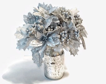 Silver Christmas Floral Arrangement, Holiday Silver Arrangement, Christmas Decor, Holiday Deco