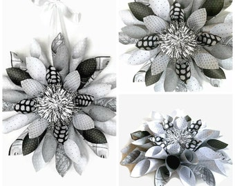 Black, Gray & White Paper Wreath, Paper Wreath, Wall Decor, Wall Hanging, Home Decor