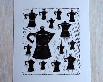 Stovetop Espresso Maker Black & White Linocut Print