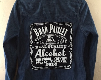 Women's chambray denim blue shirt with Brad Paisley toor t-shirt  patch on back