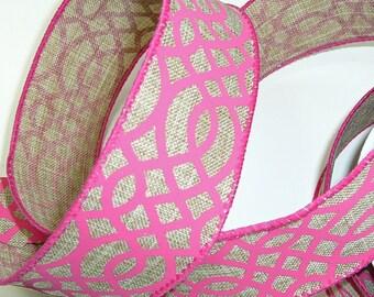 Denim Ribbon, Wired Edge Ribbon, Wired Ribbon, Pink Lattice Pattern, 1.5 Inch Ribbon, 10 Yards, Ribbon Spool, Floral Ribbon, Hot Pink Ribbon