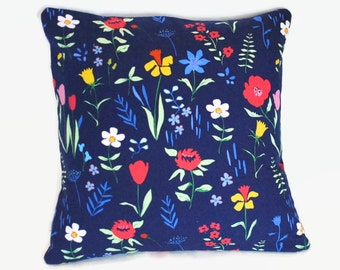 Navy floral pillow cover with pink yellow and red. 1 cover for 20x20 pillow insert. Shabby Chic cottage chic couch pillow nursery pillow