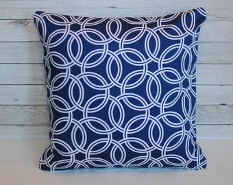 Navy blue geometric decorative pillow covers.  1 cushion cover for 18x18 or 20x20 insert. Preppy classic retro nautical beach decor