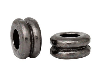 50 Gunmetal Double Rondelle Spacer Beads, 6mm, bme0383
