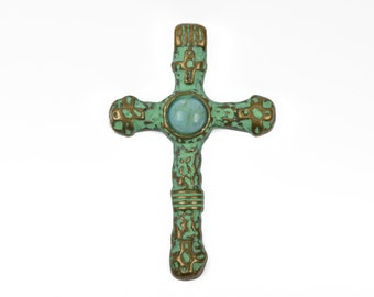 2 Bronze and Turquoise CROSS Pendants, bronze base with green verdigris patina, turquoise cabochon, rustic metal relic, 40x25mm, chb0436