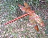 dragonfly ornament wood cedar and copper  house garden decor  no05