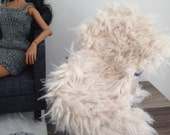 Luxurious cream faux fur chair or sofa throw for sixth scale diorama or playscale dollhouse