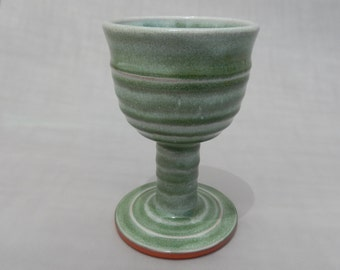 Green Pottery Wine Goblet