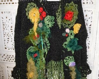 jacket in dark green velvet romantic handmade knitted embroidered  tattered fashion design wearable art by goldenyarn