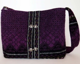 Felted Purple WOOL SHOULDER BAG / Faire Isle Design (Ooak) W Vintage Silver Clasps / From Upcycled Purple Wool Sweater / Eco Friendly Gift