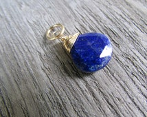 Genuine Blue Lapiz Lazuli pendant, Gemstone necklace,  14 k gold filled wire wrapped faceted teardrop, blue necklace