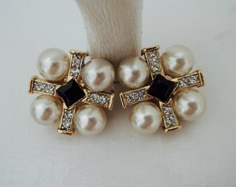 Vintage Craft Signed Pearl and Rhinestone Earrings Clip ON