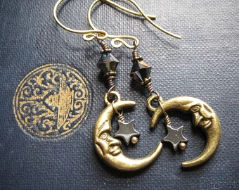 Man in the Moon Earrings. Brass Crescent Moons. Witchy Moon Maiden Earrings