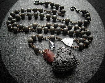 My Black Hearted Love. Antique Rosary Necklace