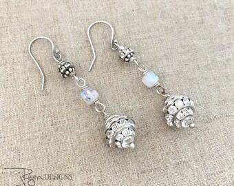Vintage Repurposed Rhinestone Earrings - Clear Rhinestone Dangle Earrings - Sterling Silver Moonstone Earrings - One of a Kind