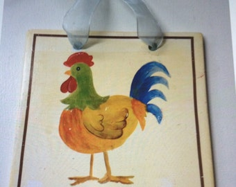 Ceramic Rooster Chicken Plaque Wall Hanging with Ribbon