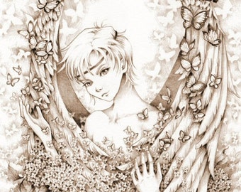 "Fantasy Mythological Art Print ""Morpheus"" Signed Sepia Fantasy Art Print"