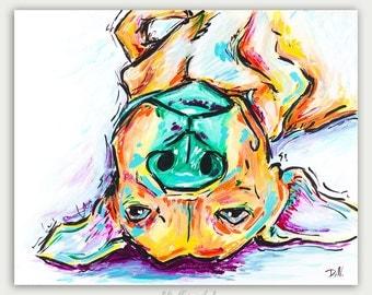Original Colorful Dog Painting, Modern Art, Acrylic On Canvas, Home Decor