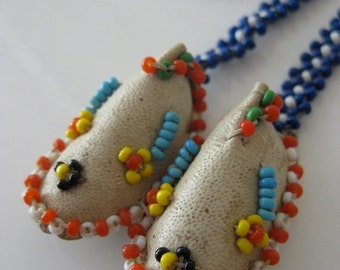 on sale Beaded Moccasins Sead Bead Woven Necklace