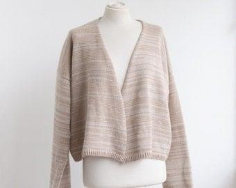 Kimono Jacket - handmade knitting caramel beige and white stripe minimal cardigan