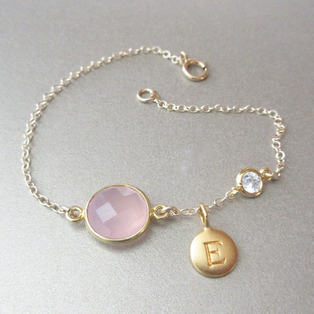 Gemstone Initial Bracelet Gold Bracelet Charm Bracelet
