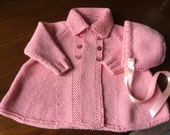 Pink 100% Cashmere Baby Matinee Flared Double Breasted Coat  and matching Bonnet for Baby 3/9 months  - Scottish Hand knit