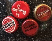 Red Bottle Cap Magnets - Set of 4 - Colorful Bar Decorations - Gifts for Guys or Girls