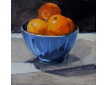 Oranges in a Blue Bowl