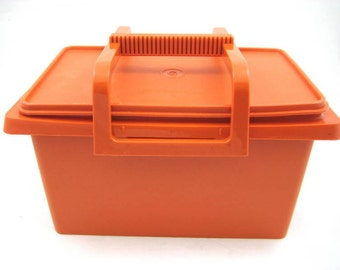 Vintage 1980s Tupperware Orange Tote, Storage Organizer, Carry All with Handle.
