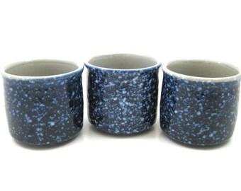 Vintage Otagiri Cobalt Blue Spackle Sake Tea Cups - Set of 3, Original Labels - Rare Blue Speck Stoneware