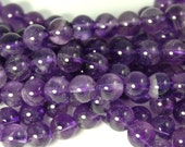 Amethyst Beads, 8mm natural AB round beads  -15.5 inch strand