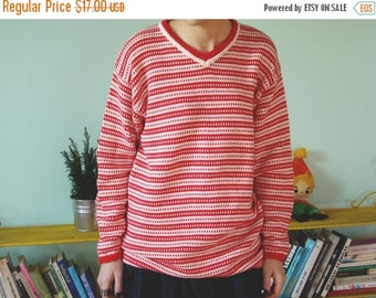 SALE Vintage 80's Red and White Striped Sweater Vneck